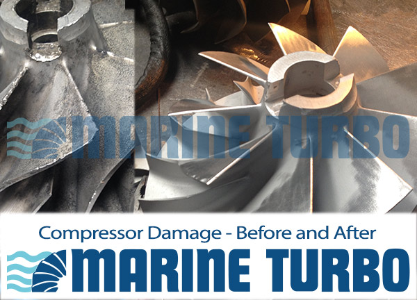 compressor damage before and after marine turbo