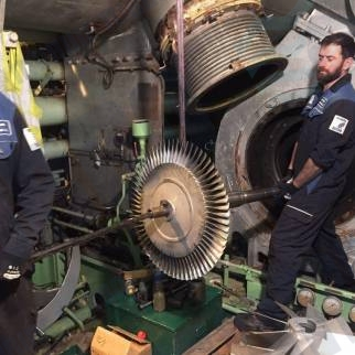 assembling main engine turbocharger