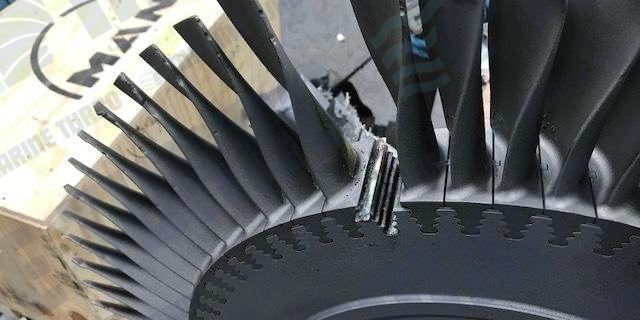Turbine blade in need of repair