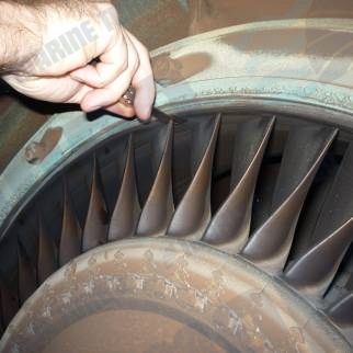 MAN TCA turbine blade tip clearance check with feeler gauges to ensure correct turbine efficency performance